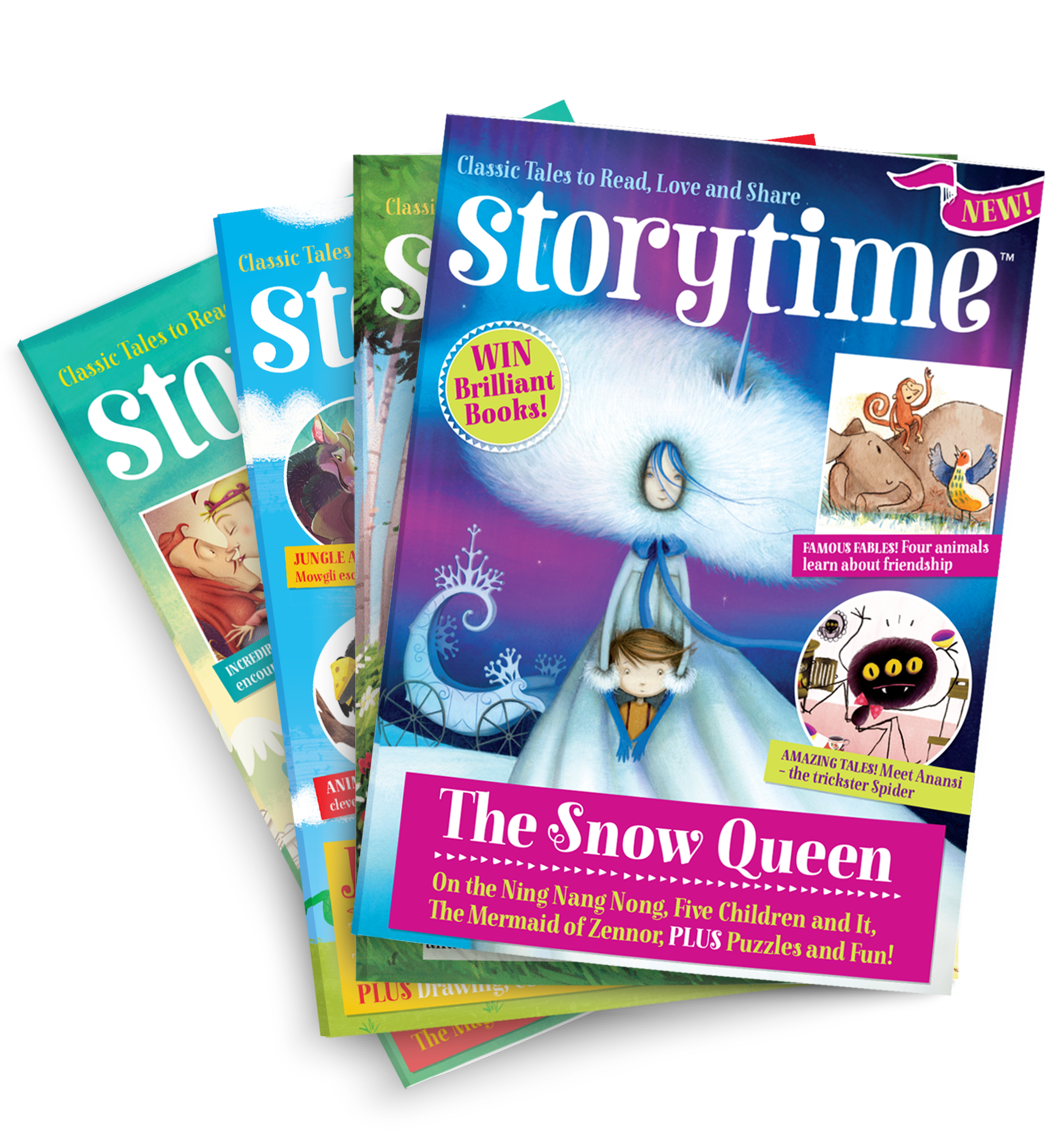 Storytime-kids-magazine-subscriptions.-Issue-stack-with-Snow-Queen-www.storytimemagazine.com/subscribe
