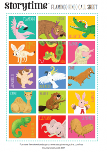 storytime_kids_magazines_free_printables_flamingo_bingo_call_sheet_www.storytimemagazine.com/free-downloads