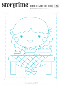 storytime_kids_magazines_free_printables_goldilocks_colouring_www.storytimemagazine.com/free-downloads.com