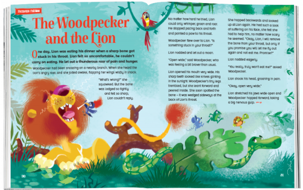 Storytime_kids_magazines_Issue51_Woodpecker_and_the_Lion_stories_for_kids_www.storytimemagazine.com