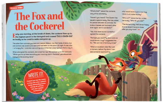 Storytime_kids_magazines_Issue56_the_fox_and_the_cockerel_stories_for_kids_www.storytimemagazine.com